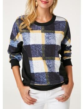 Plaid Print Pullover Long Sleeve Sweatshirt