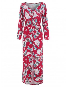 Floral Print Button Up Maxi Dress - Red M