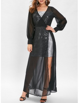 Sequin High Slit See Through Maxi Dress - Black M