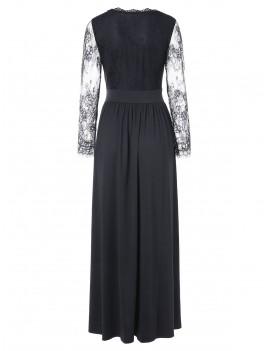 Lace Insert Full Sleeve Floor Length Dress - Black L