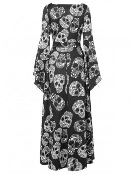 Halloween Skulls Print High Waist Maxi Dress - Black M