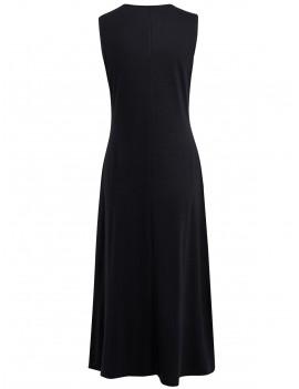 Crinkle Front Long Sleeveless Dress - Black S