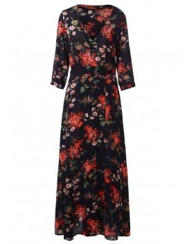 Floral Print Maxi Cocktail Dress - Black M