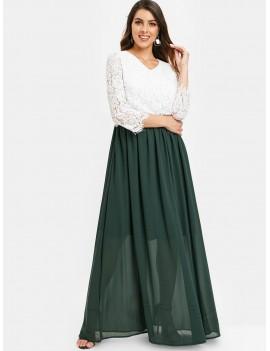 Lace Bodice Two Tone Maxi Dress - Deep Green L
