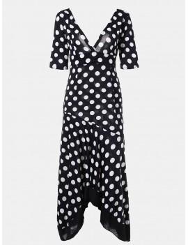 Women Irregular Lotus Leaf Edge Wave Point Deep V Neck Long Dress - Black Xl