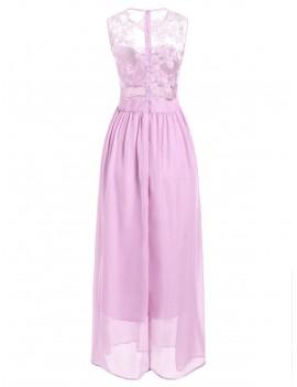 Lace Panel Maxi Prom Dress - Pig Pink M