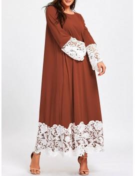 Lace Trimmed Long Sleeve Maxi Shift Dress - Dark Auburn M