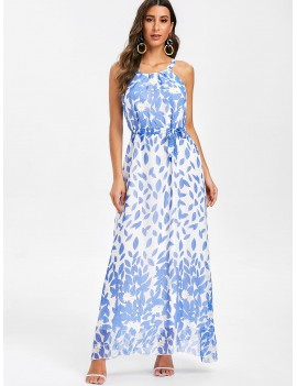 Floral Print Belted Sleeveless Maxi Dress - Day Sky Blue L