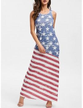 American Flag Print Sleeveless Dress -  2xl