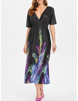 Feather Print Plunge Neck Dress - Black S