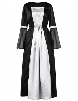 Two Tone Long Sleeve Halloween Party Dress - Black M