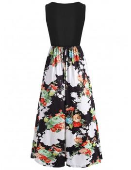 Flower Casual Long Tank Dress - White 2xl