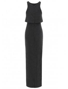 High Slit Flounce Sparkly Maxi Dress - Black M