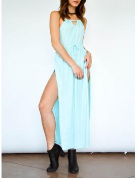 Spaghetti Strap Thigh High Split Maxi Dress - Light Blue S