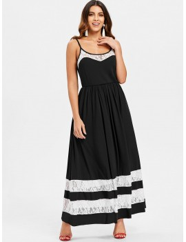 Lace Panel Casual Cami Dress - Black S