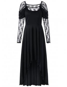 Lace Panel High Low Maxi Dress - Black M
