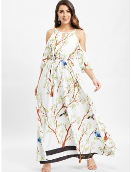 Floral Bird Print Cold Shoulder Maxi Dress - White M
