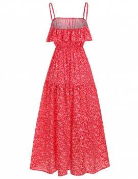 Floral Print Bohemian Overlay Maxi Dress - Red Xl