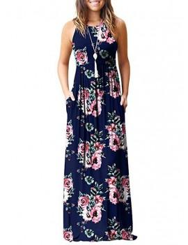 Flower Pockets Maxi Dress - Multi-c M