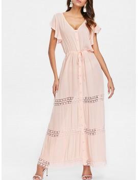 Drawstring Button Down Maxi Dress - Pink Bubblegum Xl