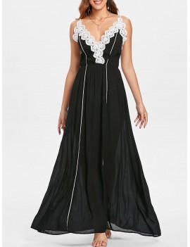 Lace Applique Contrasting Maxi Dress - Black M