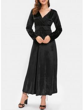 Long Sleeve Velvet Maxi Party Dress - Night L