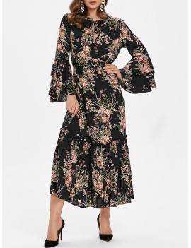 High Waist Tiny Floral Flounce Trim Dress - Black M