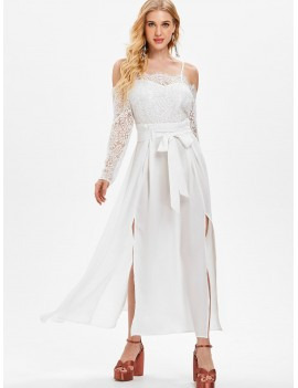 Shoulder Cut Lace Sleeve Long Dress - White L