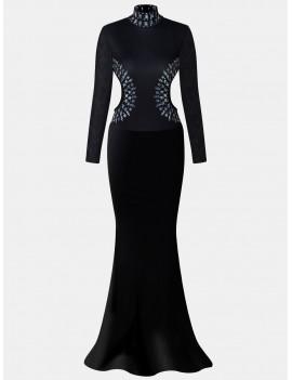Stand Up Collar Long Sleeve Dew Waist Floor Long Dress - Black S