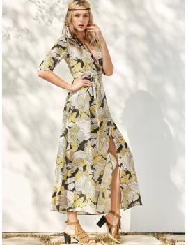 Floral Patterned Long Swing Wrap Beach Boho Dress - Yellow S