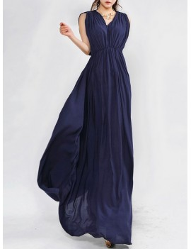 Sleeveless Pleated Long Formal Prom Dress - Navy Blue M