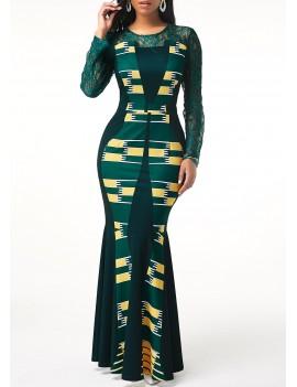 Tribal Print Lace Patchwork Long Sleeve Maxi Dress