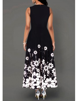 Flower Print Sleeveless Round Neck Maxi Dress