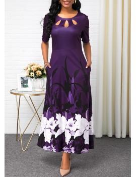 Half Sleeve Button Detail Flower Print Maxi Dress