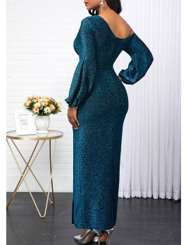 Skew Neck Peacock Blue Long Sleeve Dress