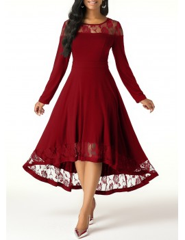 Lace Panel Long Sleeve High Low Dress