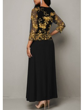 Mesh Panel Sequin Detail Maxi Dress