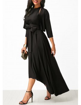 Asymmetric Hem Belted Black Maxi Dress and Cardigan