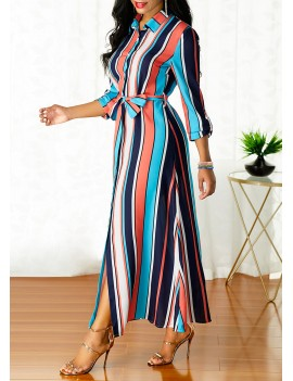 Stripe Print Turndown Collar Belted Button Up Dress