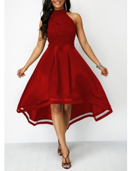 Wine Red Sleeveless Lace Panel High Low Dress