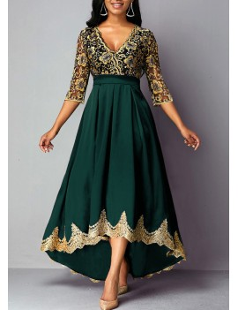 Lace Panel Plunging Neck High Waist Dress