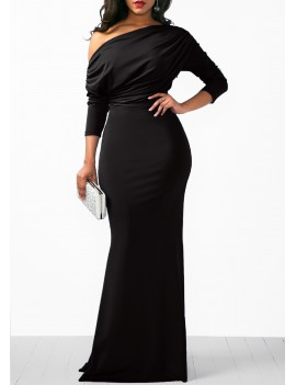 Skew Neck Three Quarter Sleeve Black Maxi Dress