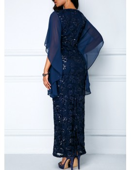 Sequin Embellished Chiffon Panel Navy Lace Maxi Dress
