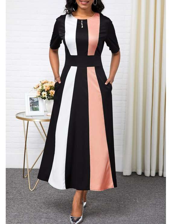 Color Block High Waist Button Detail Maxi Dress