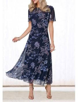 V Back Flower Print Round Neck Dress
