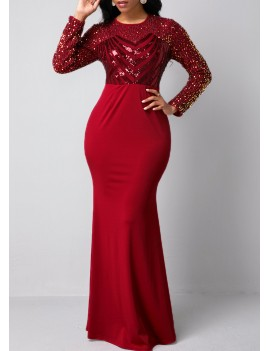 Sequin Detail Red Long Sleeve Mermaid Dress