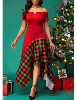 V Bar Plaid Print Side Zipper Dress