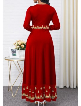 Tribal Print Round Neck Long Sleeve Maxi Dress