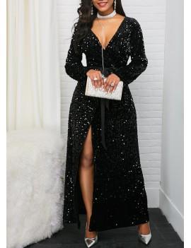 V Neck Front Slit Belted Sequin Dress