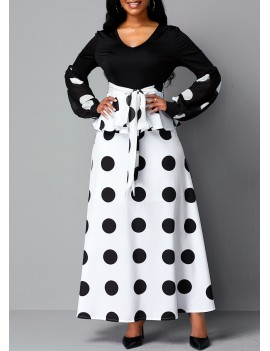 Tie Waist Dot Print V Neck Dress